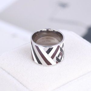 Henri Bendel Geometric Striped Enamel Ring